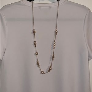 J Crew Champagne Pearl Station Necklace
